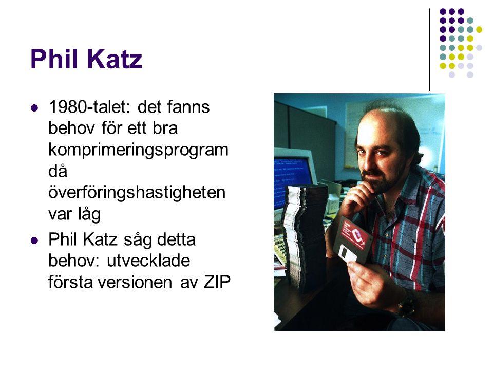 Phil Katz 1980-talet: det fanns behov för ett bra komprimeringsprogram då överföringshastigheten var låg Phil Katz såg detta behov: utvecklade första
