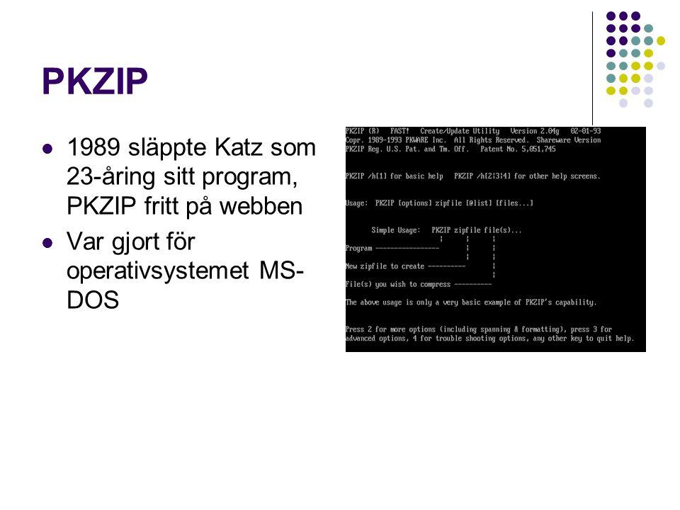 PKZIP Blev inte så uppmärksammat i början Microsoft såg formatet tilltalande och gjorde sitt eget komprimeringsformat – CAB ZIP kom så småningom att bli ett av världens mest viktiga och använda filformat