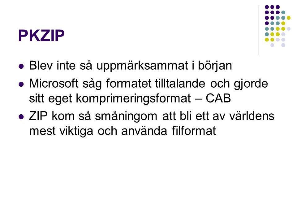 PKZIP Blev inte så uppmärksammat i början Microsoft såg formatet tilltalande och gjorde sitt eget komprimeringsformat – CAB ZIP kom så småningom att b
