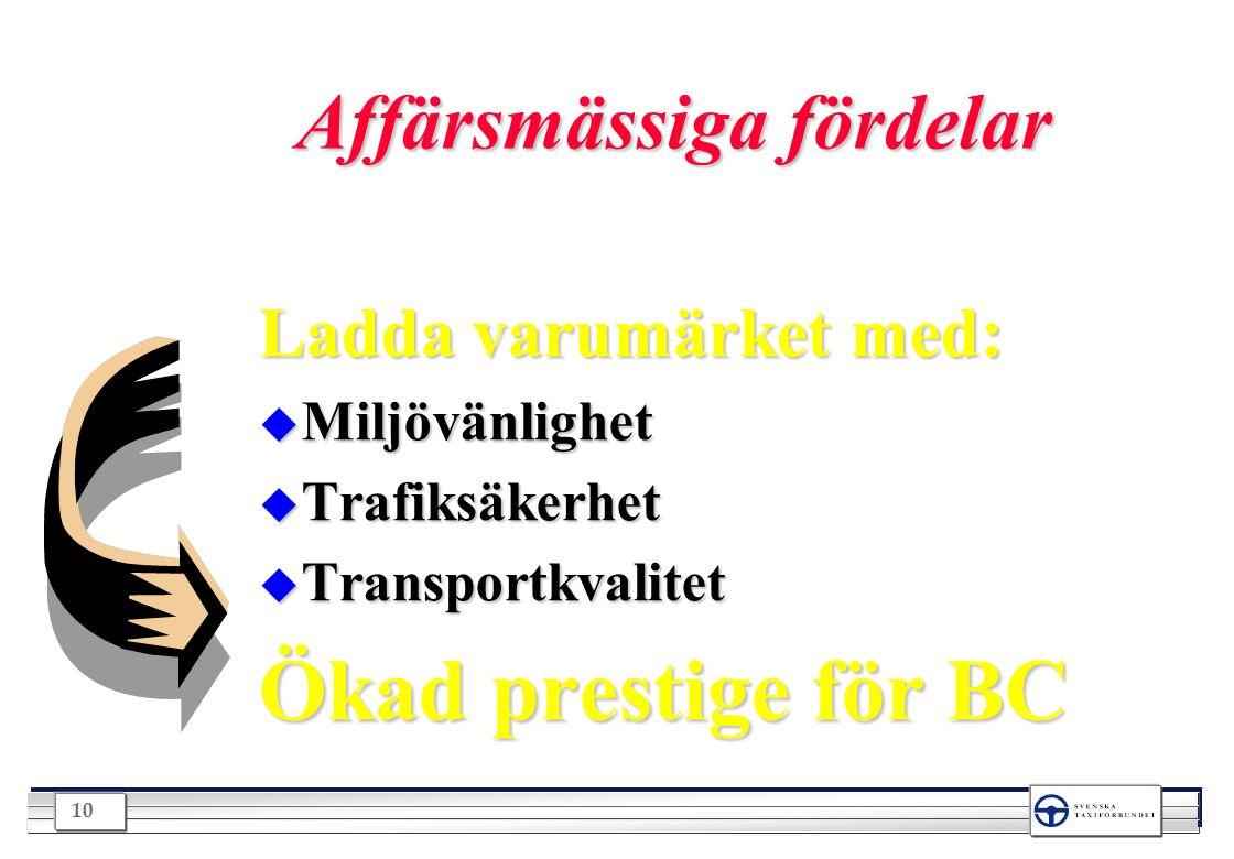 10 Affärsmässiga fördelar Ladda varumärket med: u Miljövänlighet u Trafiksäkerhet u Transportkvalitet Ökad prestige för BC