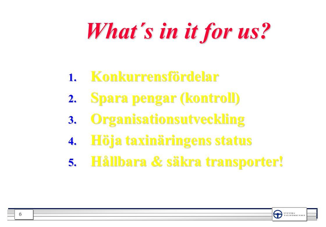 6 What´s in it for us? 1. Konkurrensfördelar 2. Spara pengar (kontroll) 3. Organisationsutveckling 4. Höja taxinäringens status 5. Hållbara & säkra tr