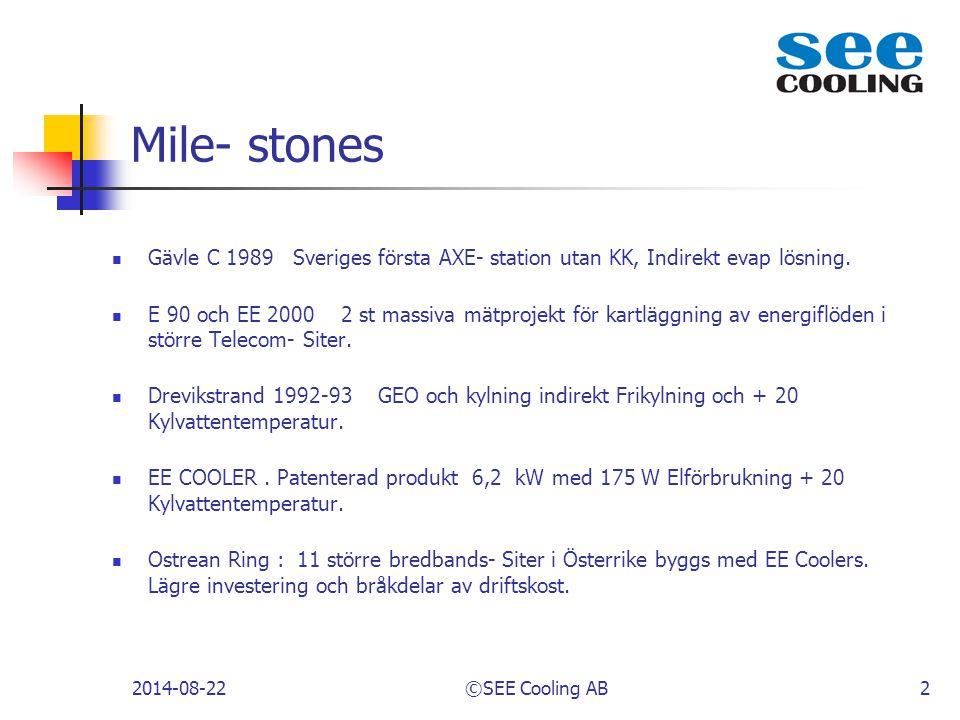 Mile- stones Gävle C 1989 Sveriges första AXE- station utan KK, Indirekt evap lösning. E 90 och EE 2000 2 st massiva mätprojekt för kartläggning av en