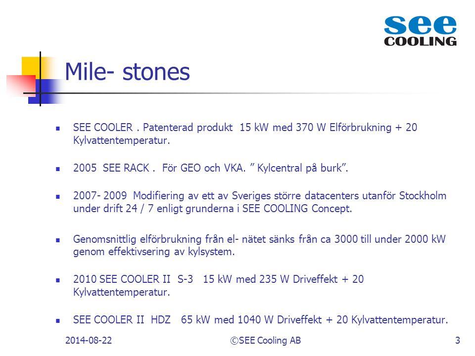 """Mile- stones SEE COOLER. Patenterad produkt 15 kW med 370 W Elförbrukning + 20 Kylvattentemperatur. 2005 SEE RACK. För GEO och VKA. """" Kylcentral på bu"""