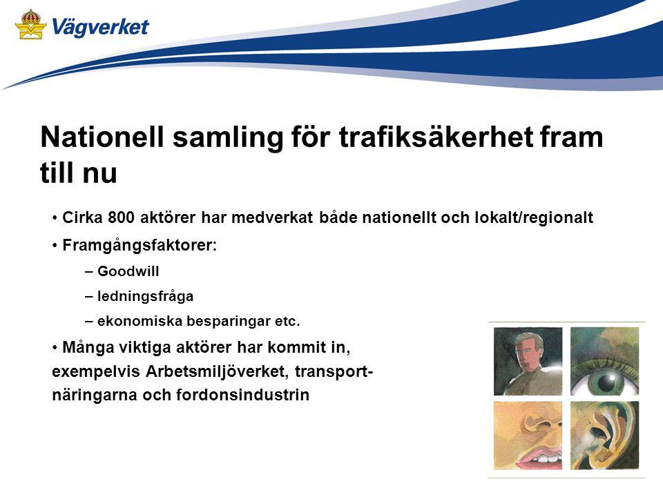 Nationell samling för trafiksäkerhet fram till nu Cirka 800 aktörer har medverkat både nationellt och lokalt/regionalt Framgångsfaktorer: – Goodwill – ledningsfråga – ekonomiska besparingar etc.
