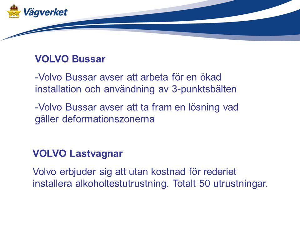 VOLVO Bussar -Volvo Bussar avser att arbeta för en ökad installation och användning av 3-punktsbälten -Volvo Bussar avser att ta fram en lösning vad gäller deformationszonerna VOLVO Lastvagnar Volvo erbjuder sig att utan kostnad för rederiet installera alkoholtestutrustning.