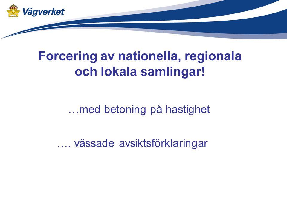 Forcering av nationella, regionala och lokala samlingar.