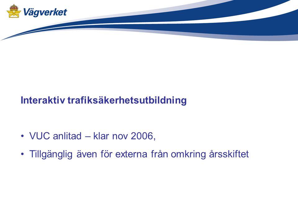 Interaktiv trafiksäkerhetsutbildning VUC anlitad – klar nov 2006, Tillgänglig även för externa från omkring årsskiftet