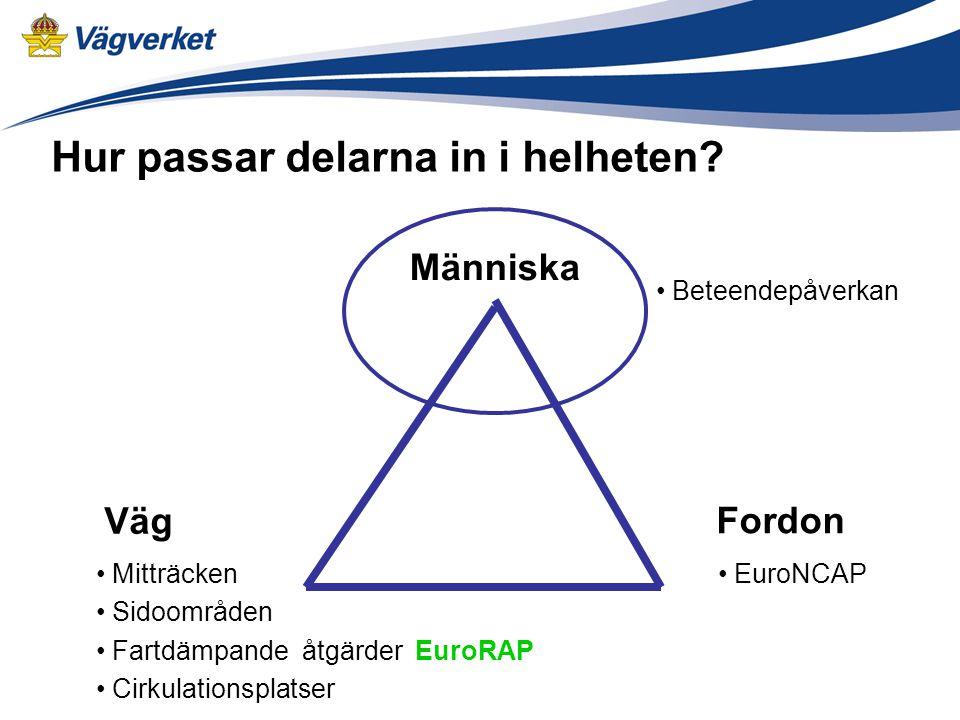 Fordon Väg Människa EuroNCAP Mitträcken Sidoområden Fartdämpande åtgärder EuroRAP Cirkulationsplatser Hur passar delarna in i helheten.