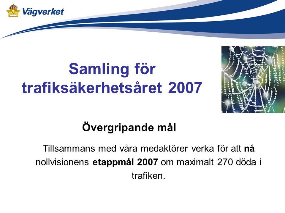 Övergripande mål Tillsammans med våra medaktörer verka för att nå nollvisionens etappmål 2007 om maximalt 270 döda i trafiken.