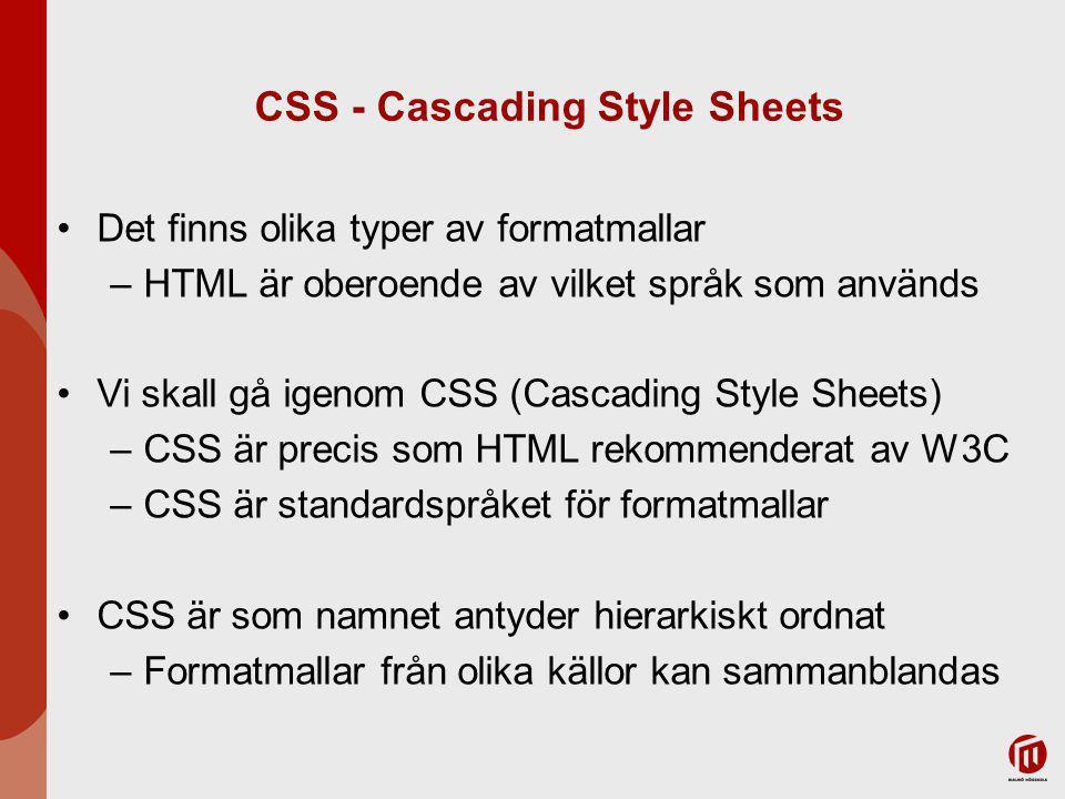 CSS - Cascading Style Sheets Det finns olika typer av formatmallar –HTML är oberoende av vilket språk som används Vi skall gå igenom CSS (Cascading Style Sheets) –CSS är precis som HTML rekommenderat av W3C –CSS är standardspråket för formatmallar CSS är som namnet antyder hierarkiskt ordnat –Formatmallar från olika källor kan sammanblandas