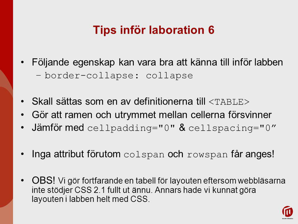 Tips inför laboration 6 Följande egenskap kan vara bra att känna till inför labben –border-collapse: collapse Skall sättas som en av definitionerna till Gör att ramen och utrymmet mellan cellerna försvinner Jämför med cellpadding= 0 & cellspacing= 0 Inga attribut förutom colspan och rowspan får anges.