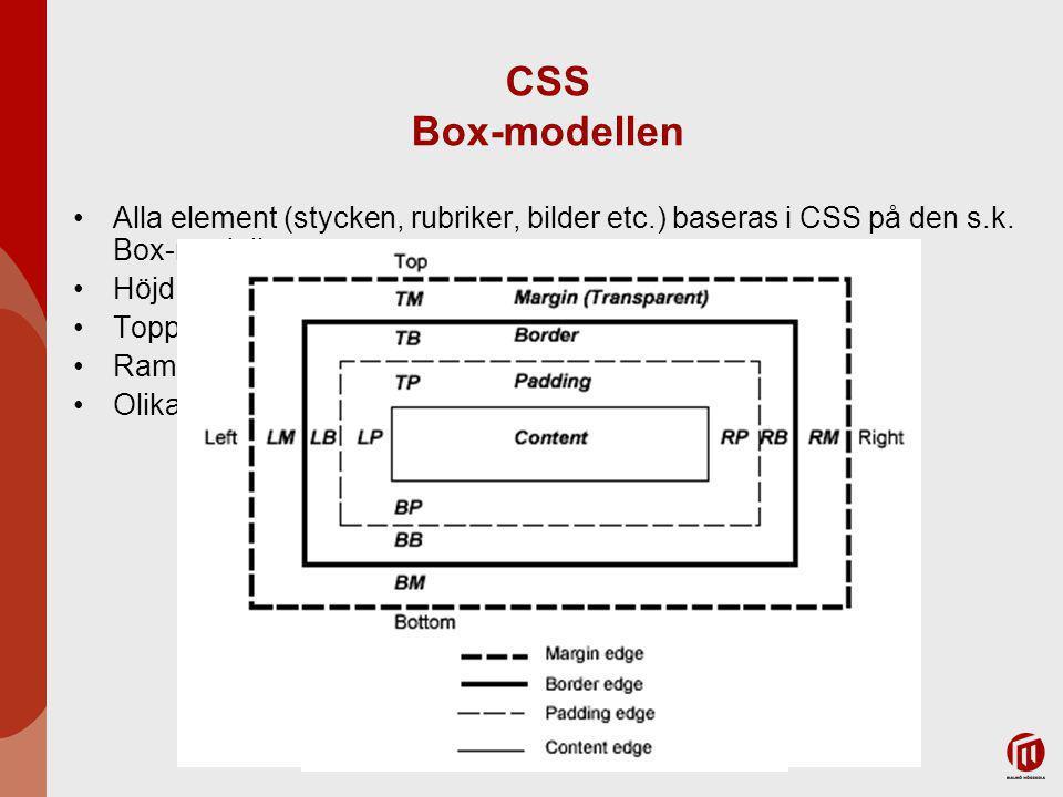 CSS Box-modellen Alla element (stycken, rubriker, bilder etc.) baseras i CSS på den s.k.