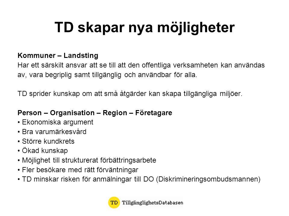 TD skapar nya möjligheter Kommuner – Landsting Har ett särskilt ansvar att se till att den offentliga verksamheten kan användas av, vara begriplig sam
