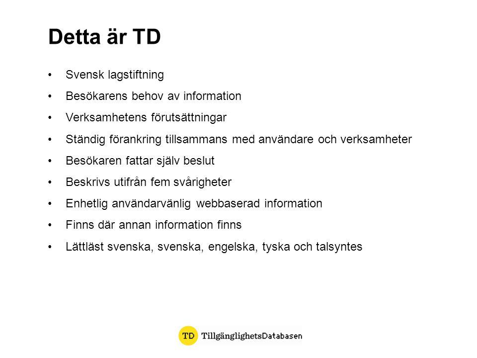 Svensk lagstiftning Besökarens behov av information Verksamhetens förutsättningar Ständig förankring tillsammans med användare och verksamheter Besöka