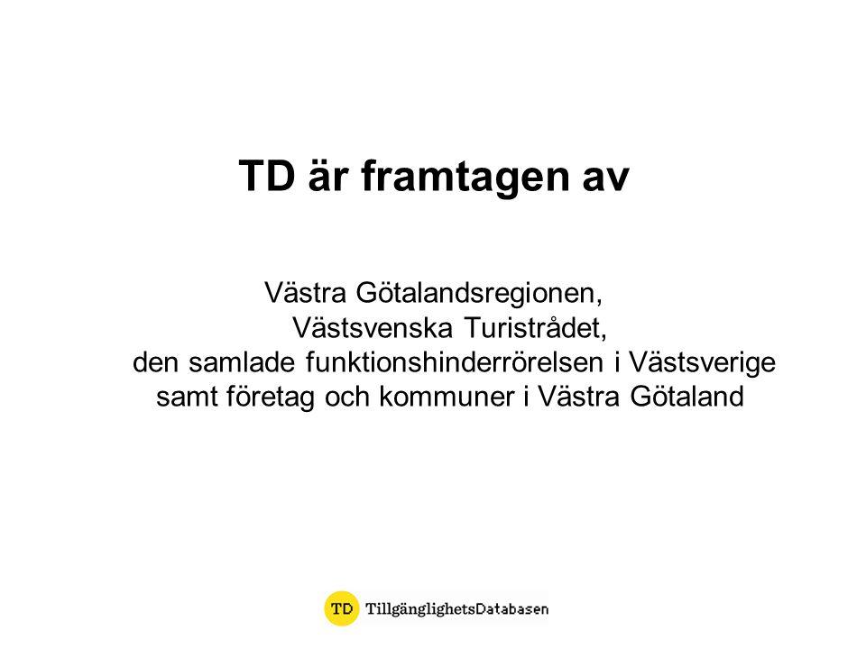 TD bygger på Förutom FN-konventionen och Regeringens strategi för funktionshinderspolitiken 2011-2016 Svensk lagstiftning PBL (Plan- och byggnadslagen) BBR (Boverkets byggregler) HIN2 (Enkelt avhjälpta hinder) ALM2 (Allmänna platser) Västra Götalandsregionens riktlinjer Personer med funktionsnedsättningars förtrogenhetskunskap och behov av information Verksamhetens förutsättningar