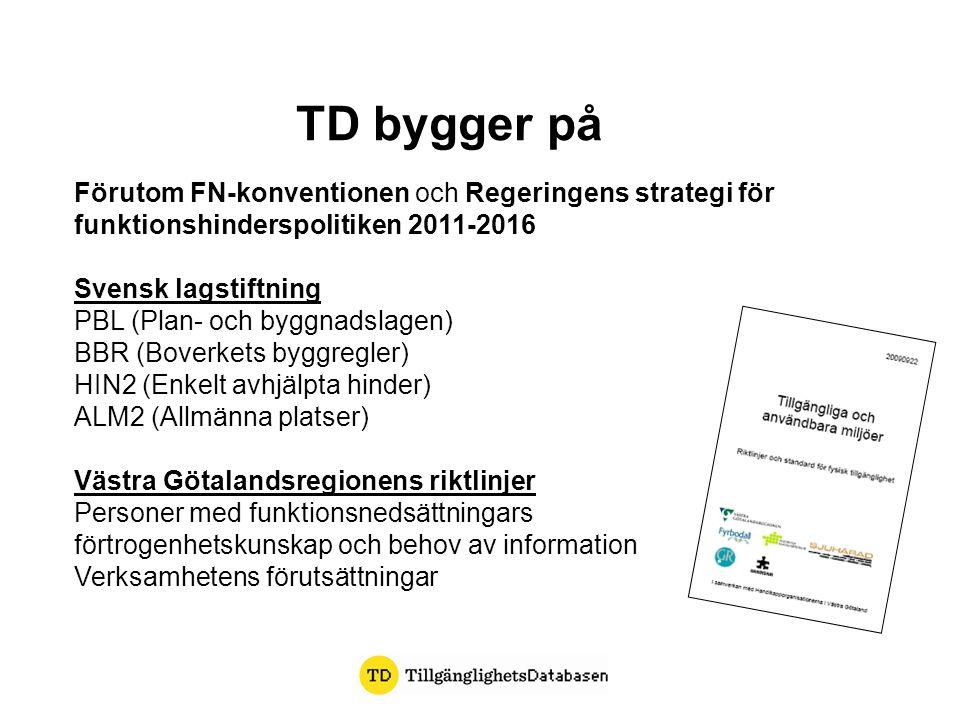TD bygger på Förutom FN-konventionen och Regeringens strategi för funktionshinderspolitiken 2011-2016 Svensk lagstiftning PBL (Plan- och byggnadslagen
