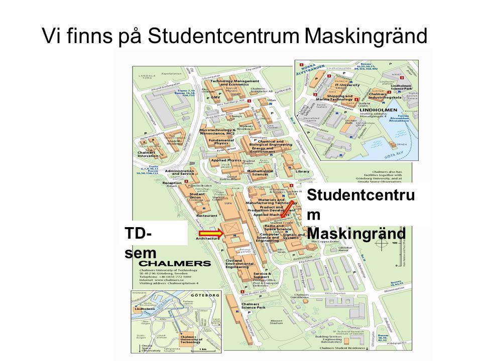 Vi finns på Studentcentrum Maskingränd Studentcentru m Maskingränd TD- sem
