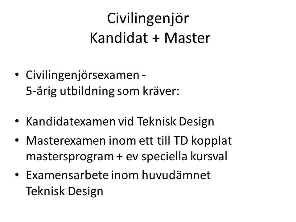 Civilingenjör Kandidat + Master Civilingenjörsexamen - 5-årig utbildning som kräver: Kandidatexamen vid Teknisk Design Masterexamen inom ett till TD k