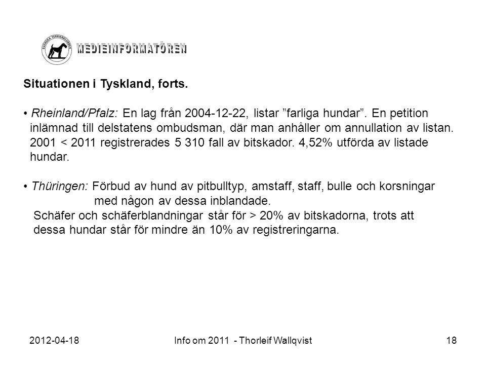 """2012-04-18Info om 2011 - Thorleif Wallqvist18 Situationen i Tyskland, forts. Rheinland/Pfalz: En lag från 2004-12-22, listar """"farliga hundar"""". En peti"""