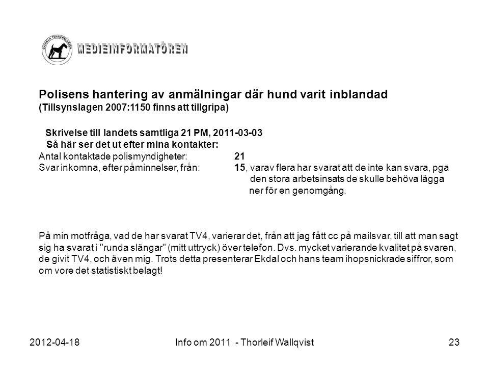 2012-04-18Info om 2011 - Thorleif Wallqvist23 Polisens hantering av anmälningar där hund varit inblandad (Tillsynslagen 2007:1150 finns att tillgripa)