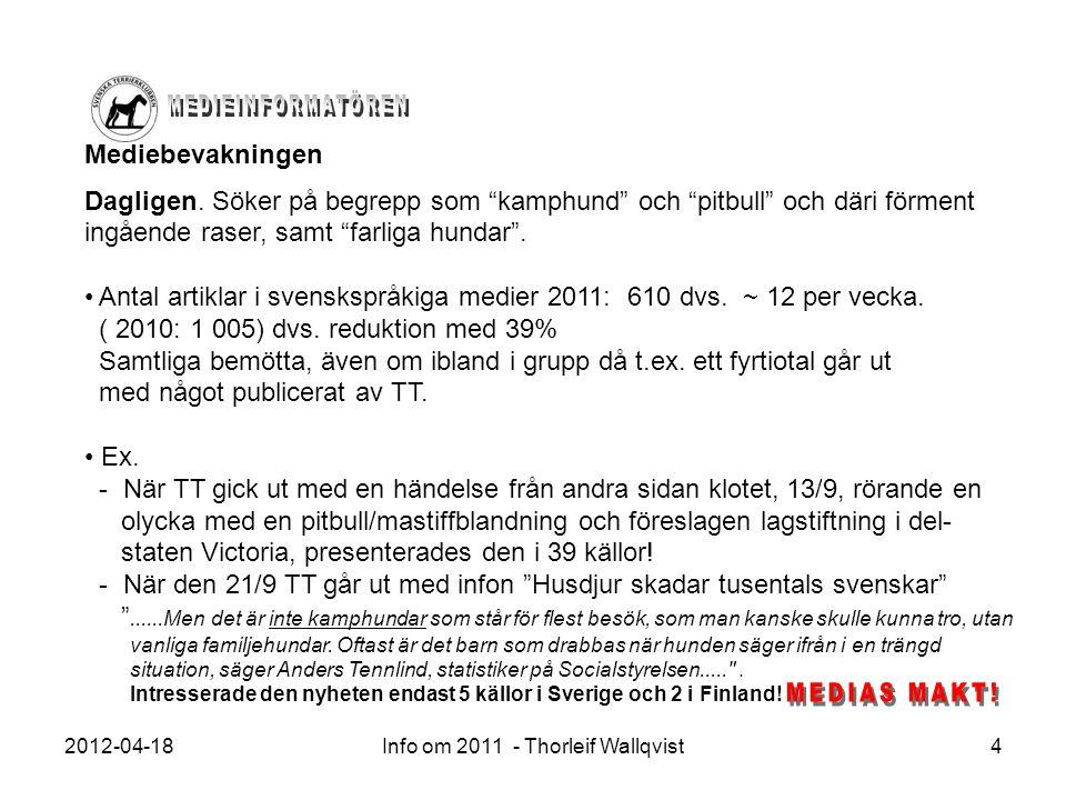 """2012-04-18Info om 2011 - Thorleif Wallqvist4 Mediebevakningen Dagligen. Söker på begrepp som """"kamphund"""" och """"pitbull"""" och däri förment ingående raser,"""