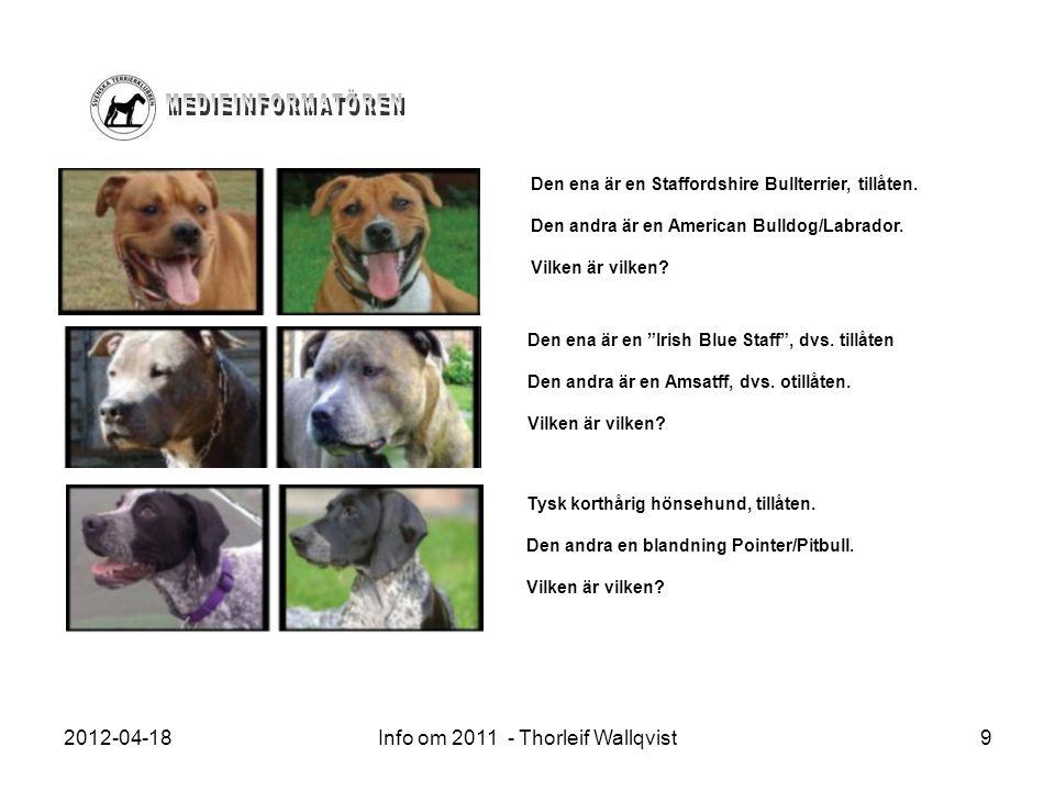 2012-04-18Info om 2011 - Thorleif Wallqvist9 Den ena är en Staffordshire Bullterrier, tillåten. Den andra är en American Bulldog/Labrador. Vilken är v