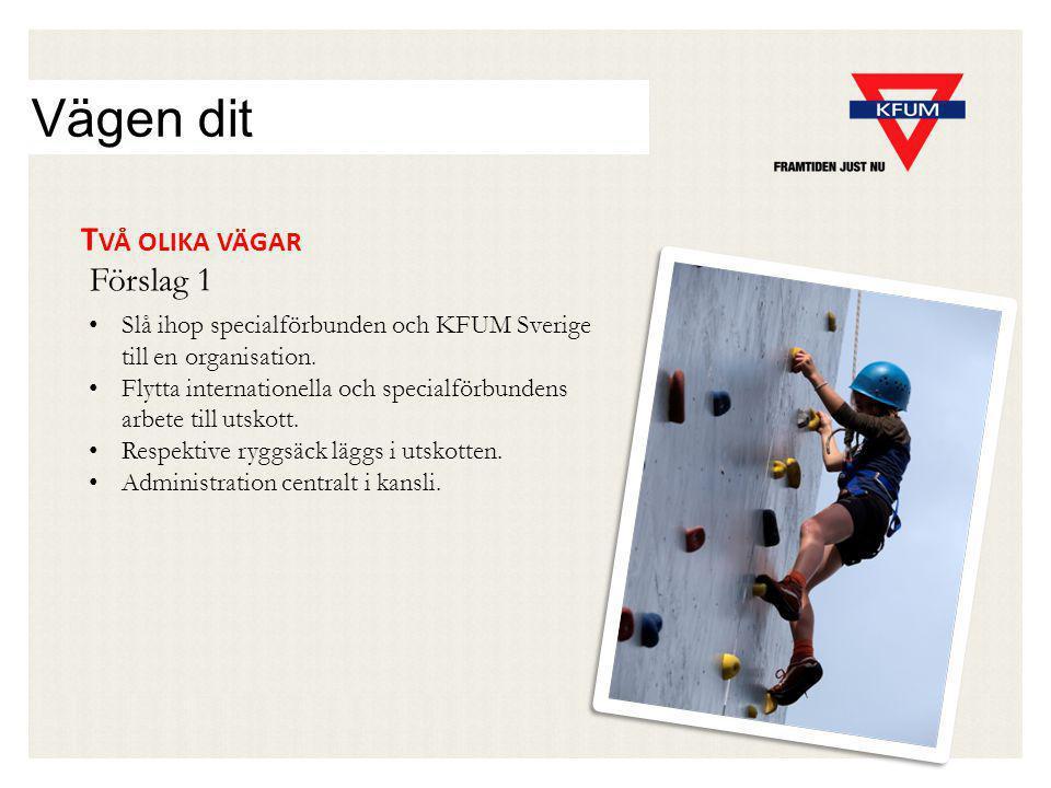 Vägen dit T VÅ OLIKA VÄGAR Slå ihop specialförbunden och KFUM Sverige till en organisation.