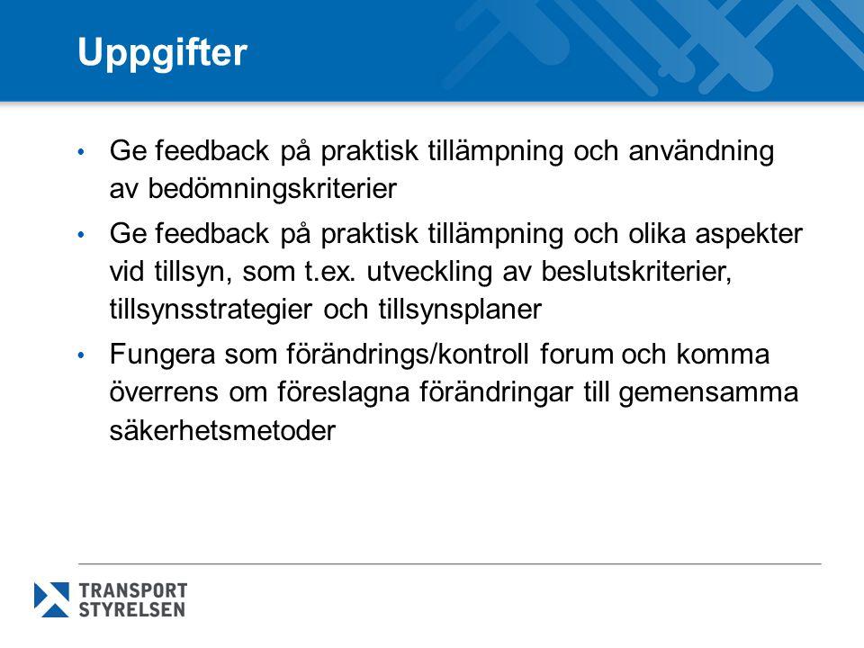 Uppgifter Ge feedback på praktisk tillämpning och användning av bedömningskriterier Ge feedback på praktisk tillämpning och olika aspekter vid tillsyn