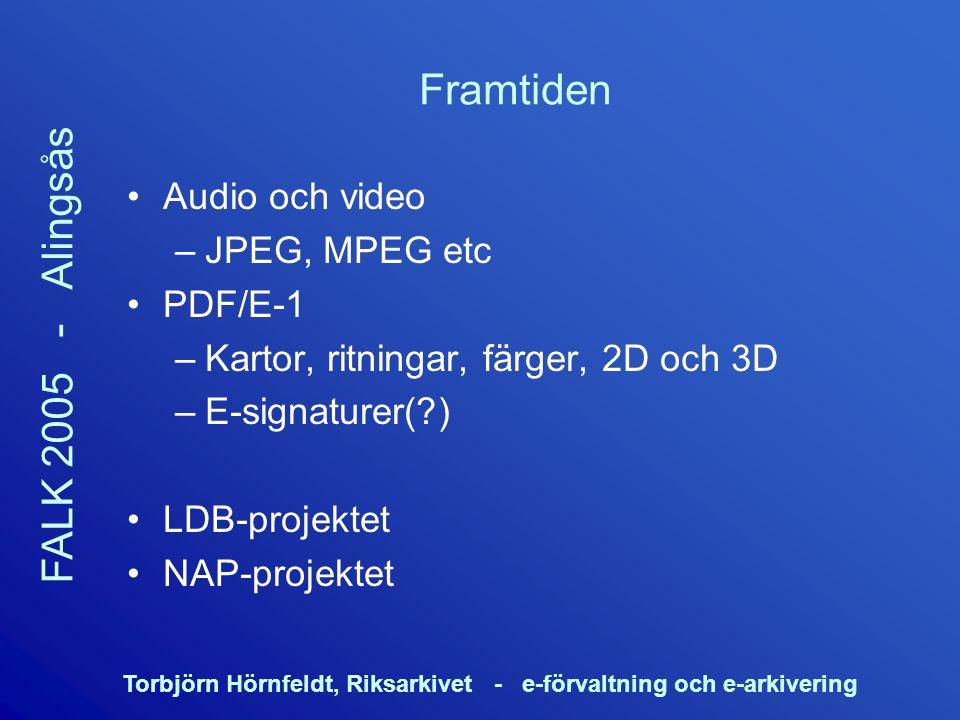 Torbjörn Hörnfeldt, Riksarkivet - e-förvaltning och e-arkivering FALK 2005 - Alingsås Framtiden Audio och video –JPEG, MPEG etc PDF/E-1 –Kartor, ritni