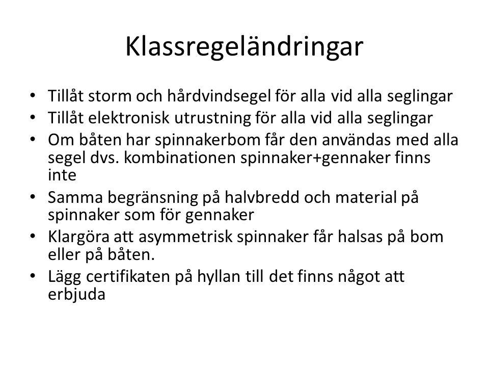 Klassregeländringar Tillåt storm och hårdvindsegel för alla vid alla seglingar Tillåt elektronisk utrustning för alla vid alla seglingar Om båten har
