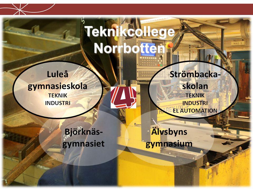 Teknikcollege Norrbotten Luleå gymnasieskola TEKNIK INDUSTRI Strömbacka- skolan TEKNIK INDUSTRI EL AUTOMATION Älvsbyns gymnasium Björknäs- gymnasiet