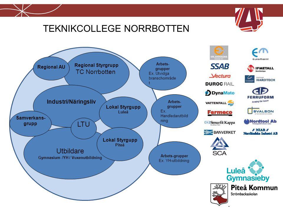 Utbildare Gymnasium /YH / Vuxenutbildning Regional Styrgrupp TC Norrbotten Industri/Näringsliv LTU Regional AU Samverkans- grupp Lokal Styrgupp Luleå