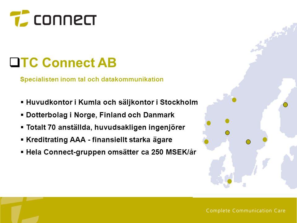 Kumla Stockholm  TC Connect AB Specialisten inom tal och datakommunikation  Huvudkontor i Kumla och säljkontor i Stockholm  Dotterbolag i Norge, Fi