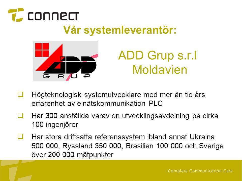 Vår systemleverantör: ADD Grup s.r.l Moldavien  Högteknologisk systemutvecklare med mer än tio års erfarenhet av elnätskommunikation PLC  Har 300 an