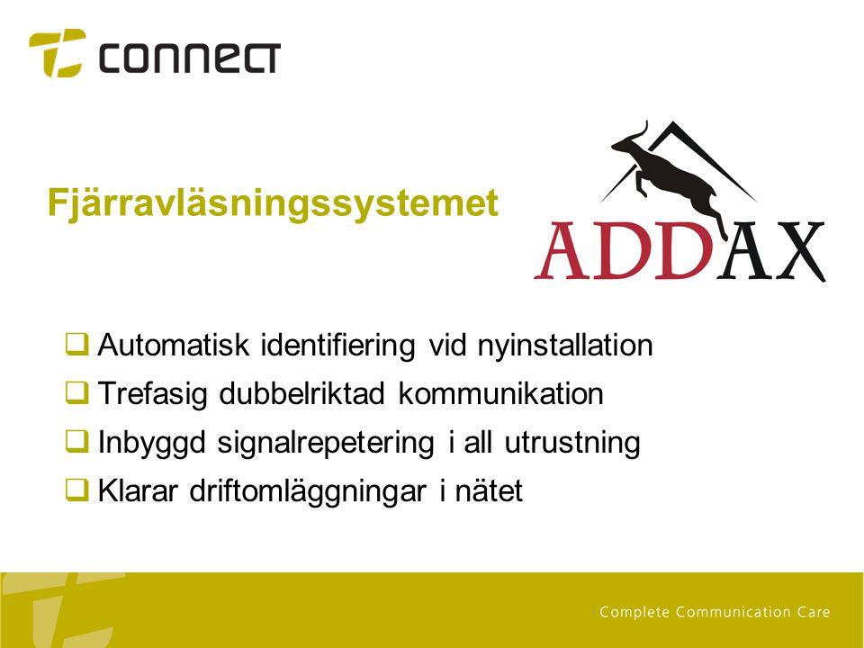 Fjärravläsningssystemet  Automatisk identifiering vid nyinstallation  Trefasig dubbelriktad kommunikation  Inbyggd signalrepetering i all utrustnin
