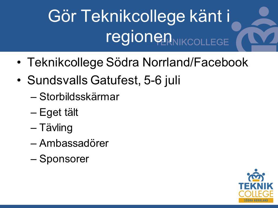 Gör Teknikcollege känt i regionen Teknikcollege Södra Norrland/Facebook Sundsvalls Gatufest, 5-6 juli –Storbildsskärmar –Eget tält –Tävling –Ambassadörer –Sponsorer