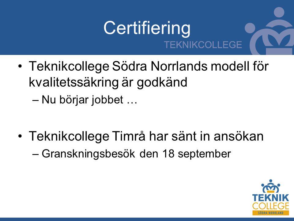 Certifiering Teknikcollege Södra Norrlands modell för kvalitetssäkring är godkänd –Nu börjar jobbet … Teknikcollege Timrå har sänt in ansökan –Granskningsbesök den 18 september
