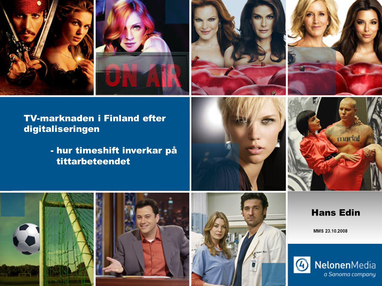 Utvecklingen av TV-tittandet i Finland Total TV, 10-44 år min/dag Källa: Finnpanel Oy, TV-tittarmätning, 10-44 2000-2007 innehåller inte gäst tittandet.