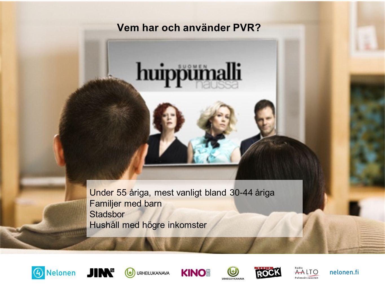 Otsikko Vem har och använder PVR? Under 55 åriga, mest vanligt bland 30-44 åriga Familjer med barn Stadsbor Hushåll med högre inkomster