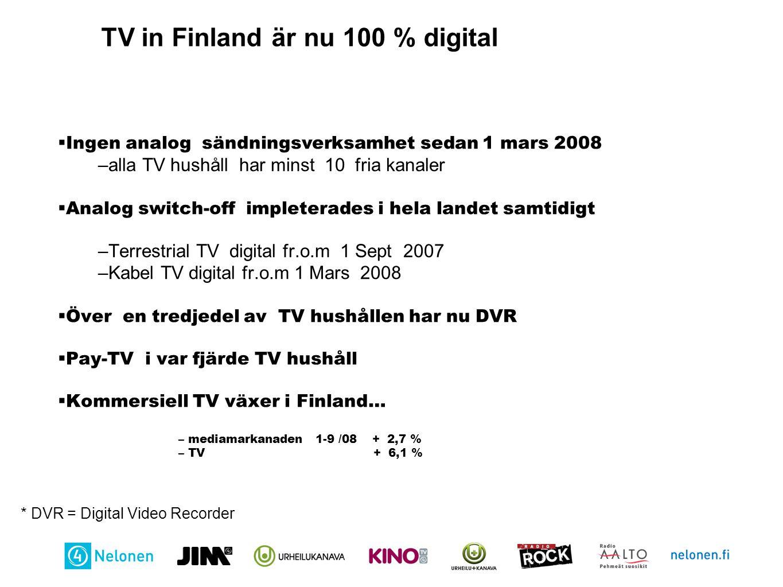 Exempel på vilka kanalers utbud är mest inspelat i PVR hushåll Källa: Finnpanel Oy, TV-tittarmätning, 1-6 2008, PVR hushåll 10+