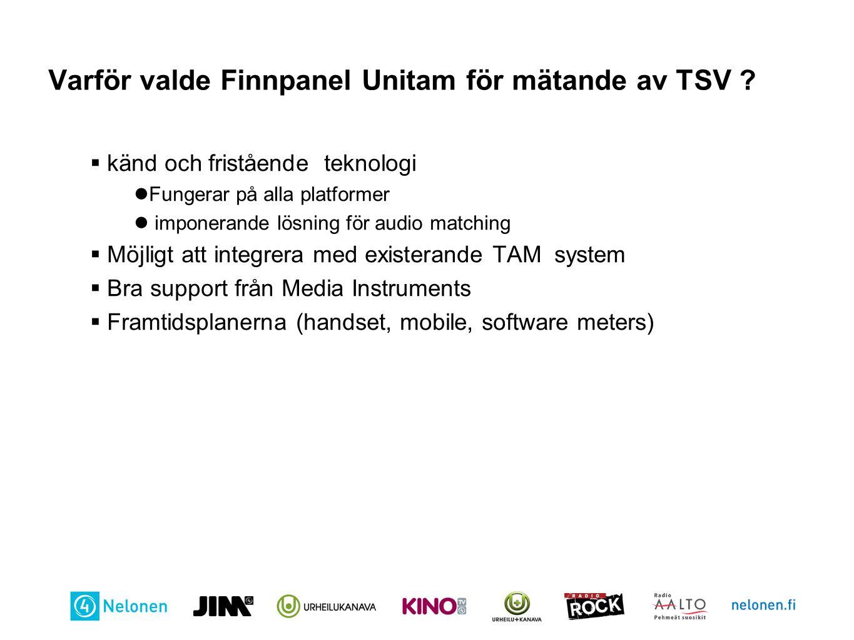 Varför valde Finnpanel Unitam för mätande av TSV ?  känd och fristående teknologi Fungerar på alla platformer imponerande lösning för audio matching