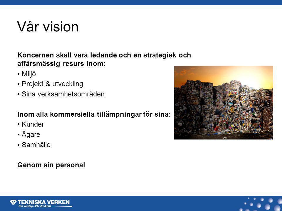 Vår vision Koncernen skall vara ledande och en strategisk och affärsmässig resurs inom: Miljö Projekt & utveckling Sina verksamhetsområden Inom alla k