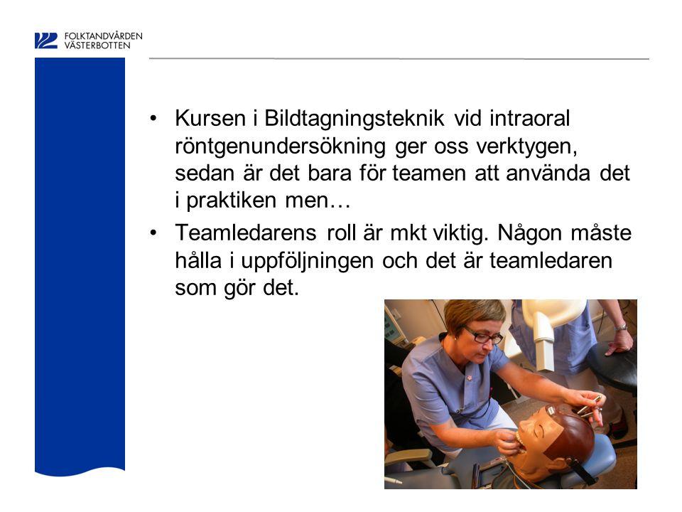 Kursen i Bildtagningsteknik vid intraoral röntgenundersökning ger oss verktygen, sedan är det bara för teamen att använda det i praktiken men… Teamled