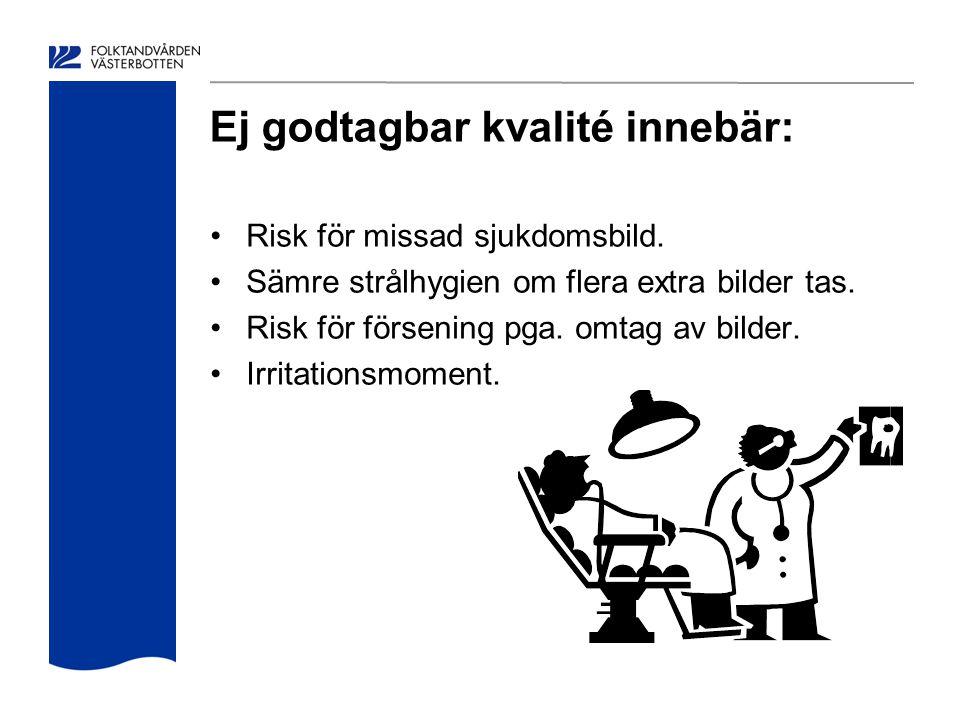 Ej godtagbar kvalité innebär: Risk för missad sjukdomsbild. Sämre strålhygien om flera extra bilder tas. Risk för försening pga. omtag av bilder. Irri