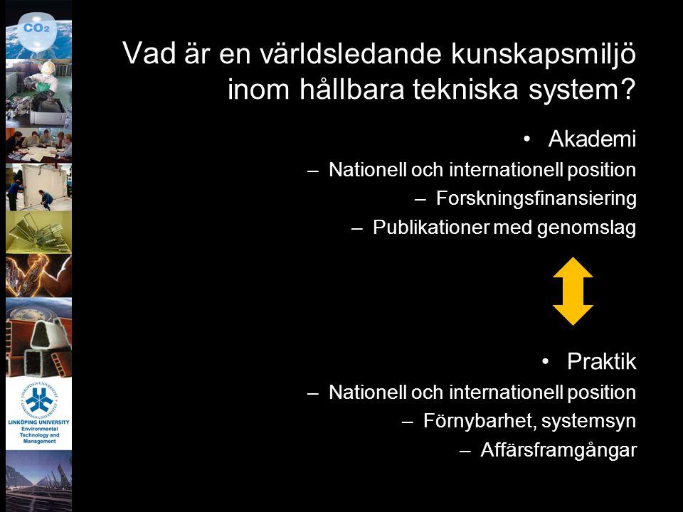 Vad är en världsledande kunskapsmiljö inom hållbara tekniska system? Akademi –Nationell och internationell position –Forskningsfinansiering –Publikati