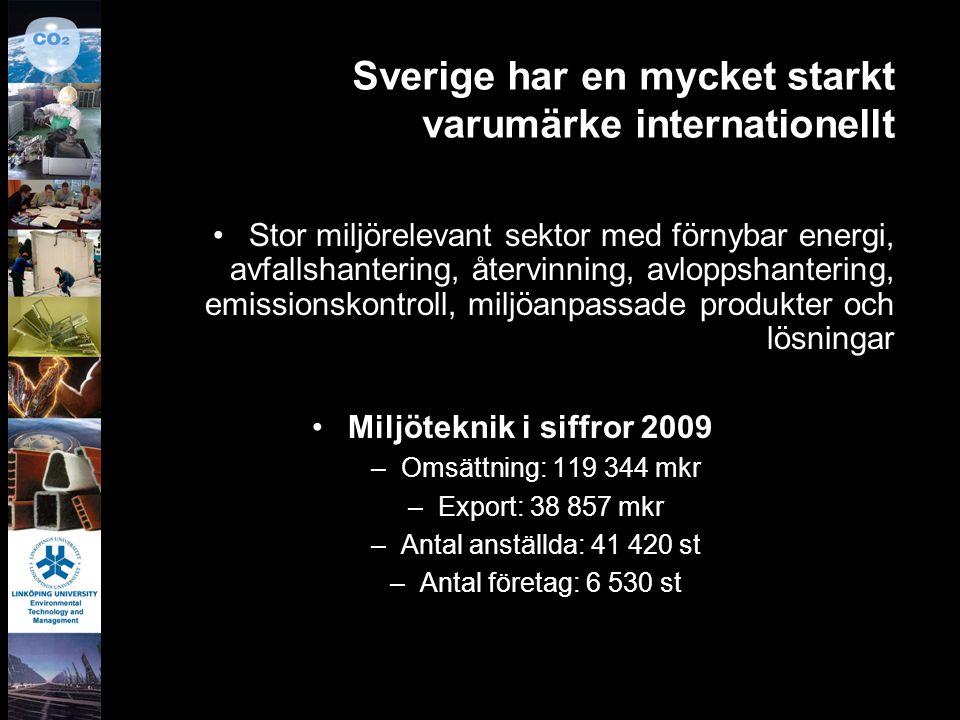 Sverige har en mycket starkt varumärke internationellt Stor miljörelevant sektor med förnybar energi, avfallshantering, återvinning, avloppshantering,
