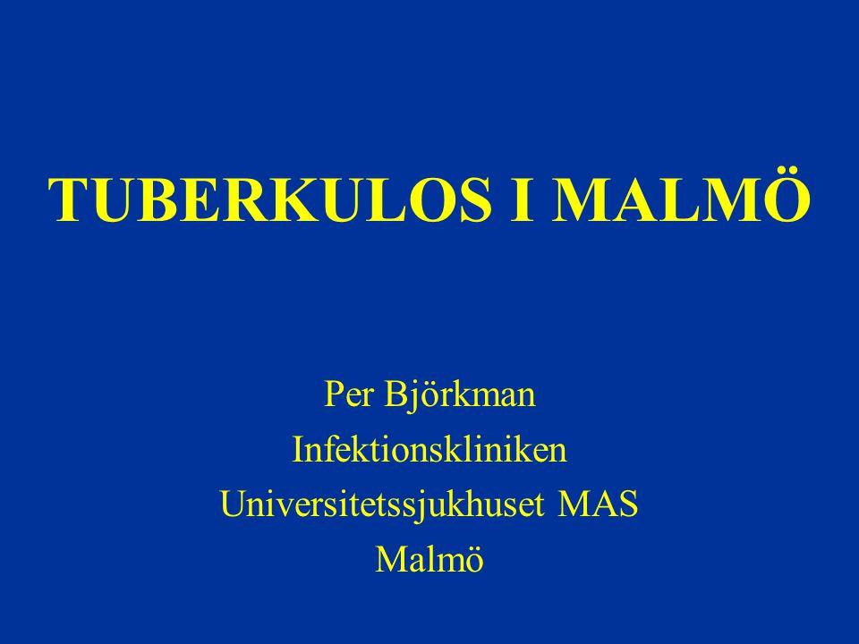 Tuberkulos – epidemiologi i Sverige 2006 Majoriteten av fallen i storstadsregionerna 72% födda utomlands Medianålder –Födda i Sverige: 71 år –Födda utanför Sverige: 32 år Invandrare från högendemiska områden har samma TB-incidens som i sina ursprungsländer flera år efter ankomst till Sverige!
