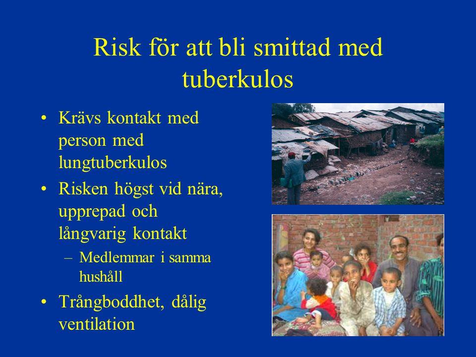 Risk för att bli smittad med tuberkulos Krävs kontakt med person med lungtuberkulos Risken högst vid nära, upprepad och långvarig kontakt –Medlemmar i