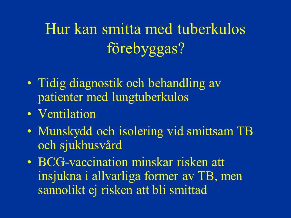Hur kan smitta med tuberkulos förebyggas? Tidig diagnostik och behandling av patienter med lungtuberkulos Ventilation Munskydd och isolering vid smitt
