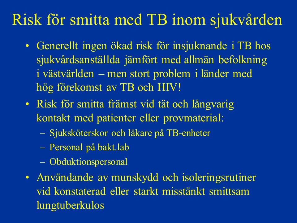 Risk för smitta med TB inom sjukvården Generellt ingen ökad risk för insjuknande i TB hos sjukvårdsanställda jämfört med allmän befolkning i västvärld